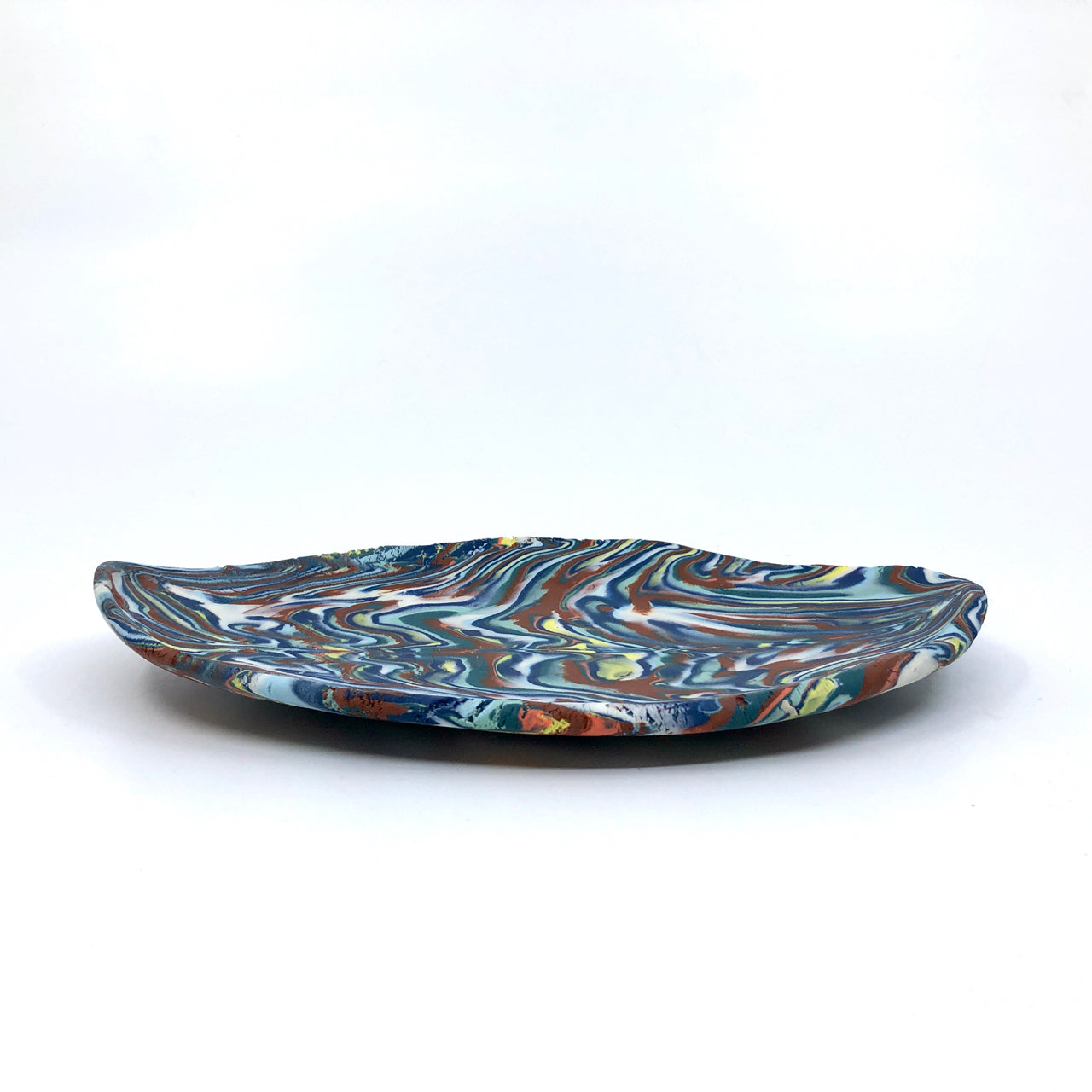 Dark Red & Blue Marbled Medium Display Platter