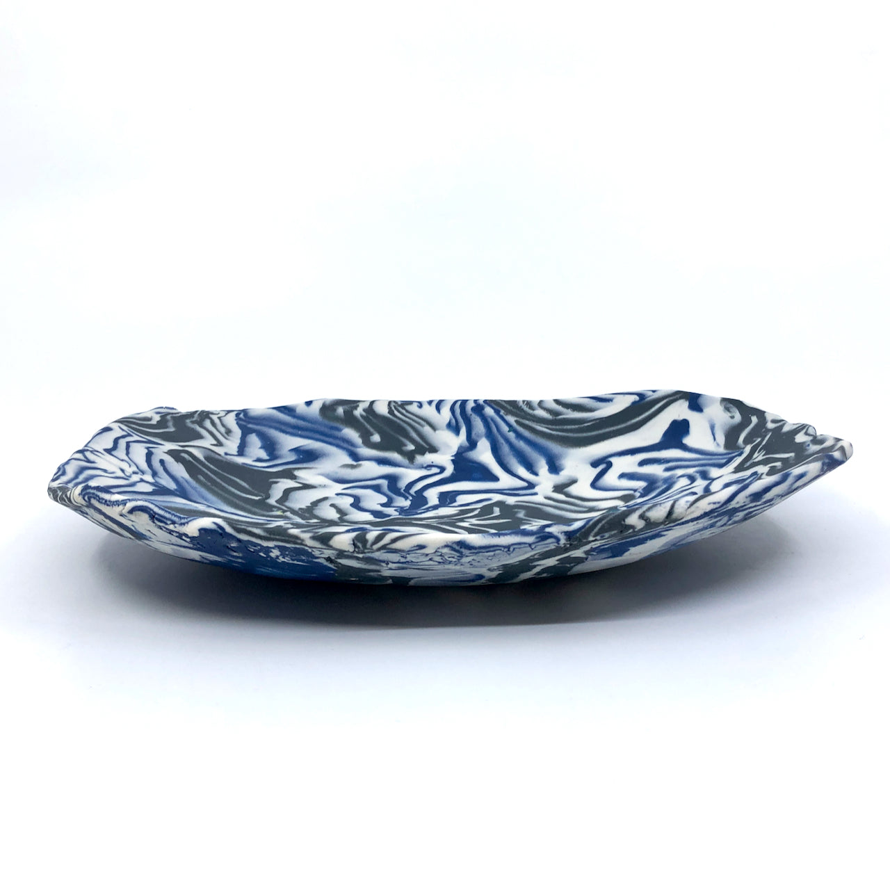 Black & Blue Marbled Medium Display Platter