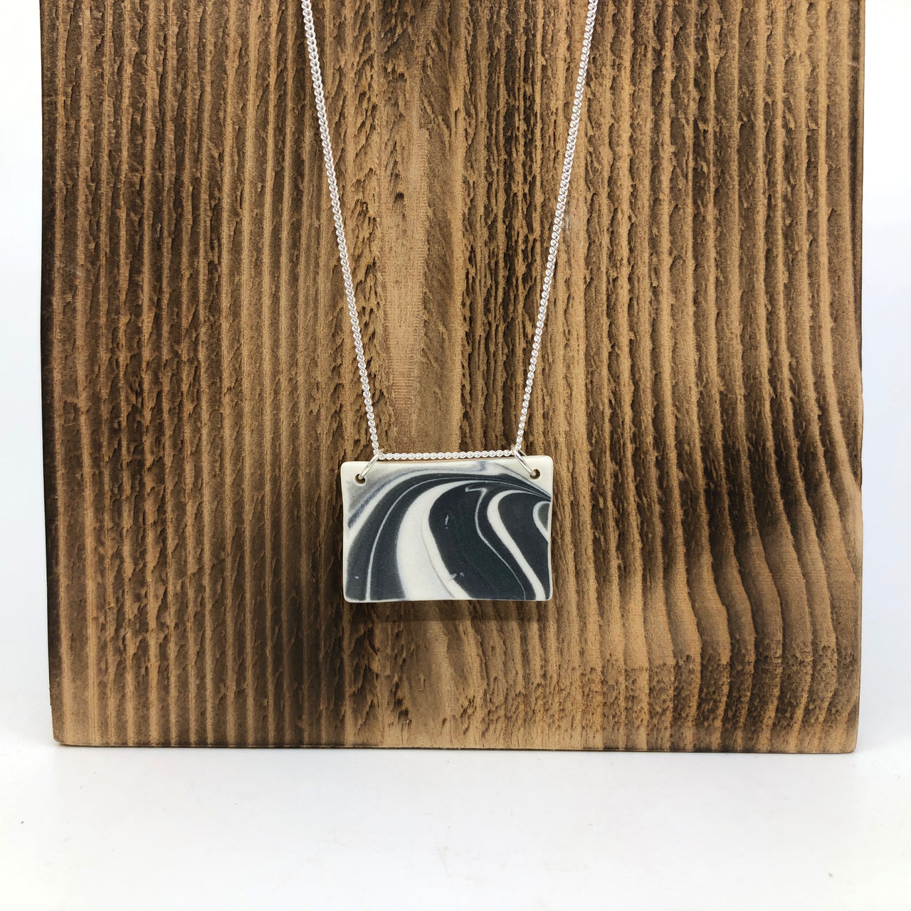 Storm Strata Wide Rectangle Necklace