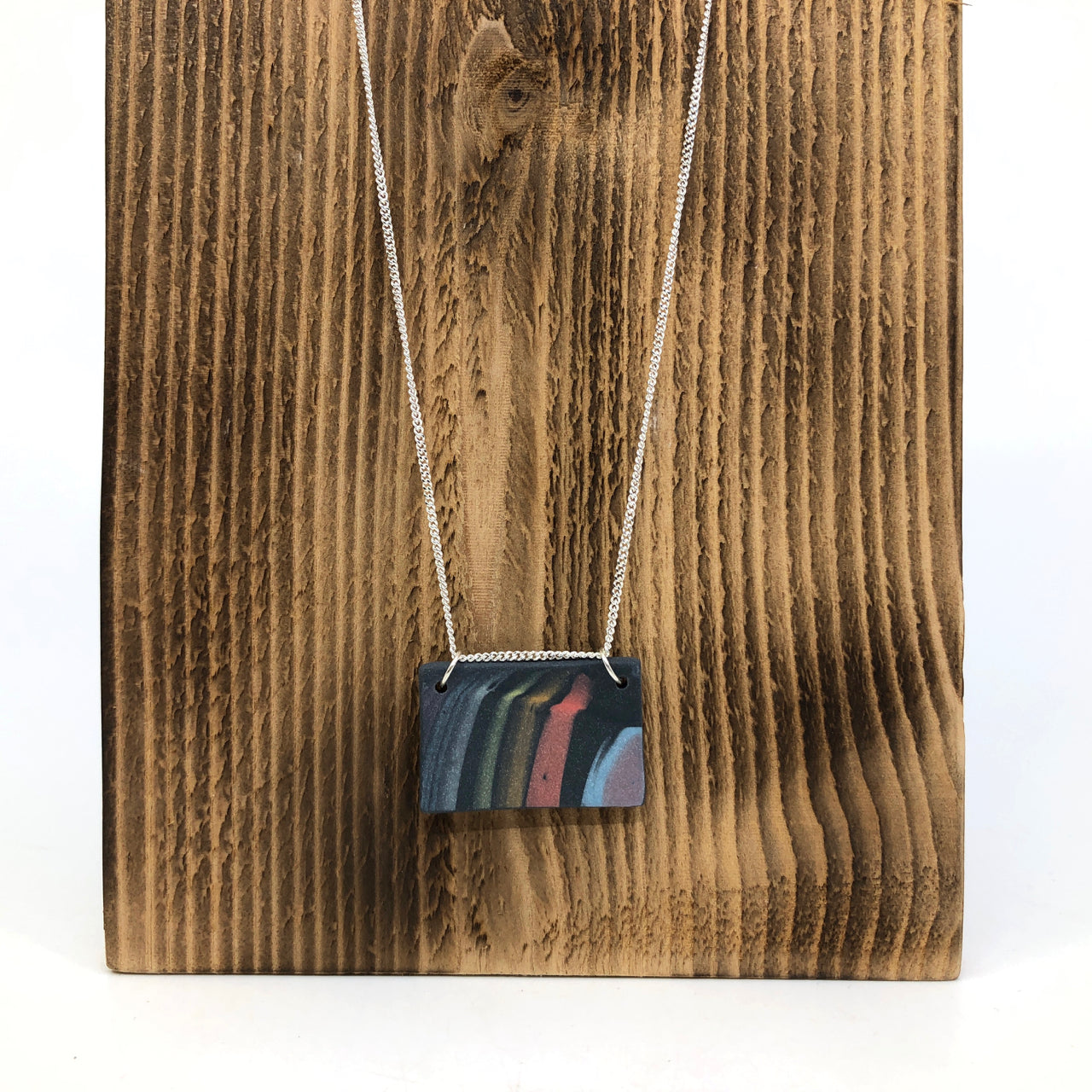 Dark Rainbow Strata Wide Rectangle Necklace