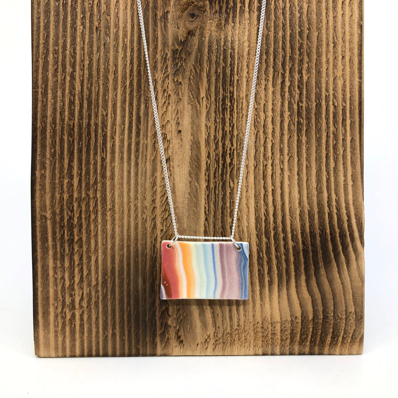 Rainbow Strata Wide Rectangle Necklace