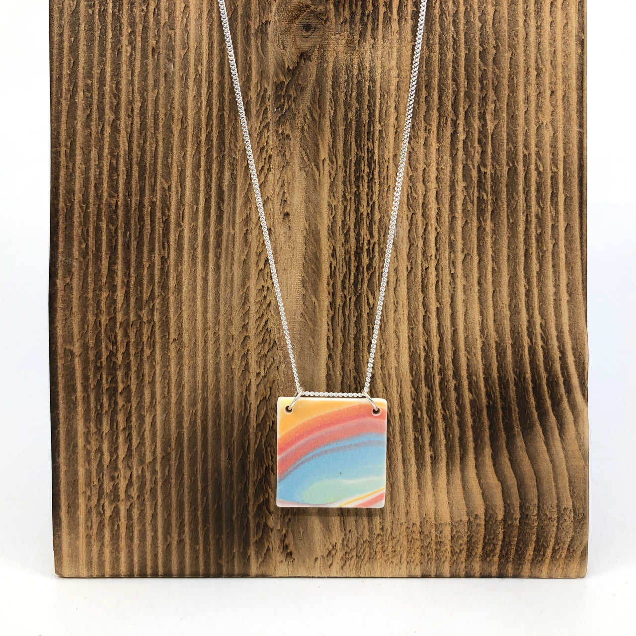 Rainbow Strata Square Necklace