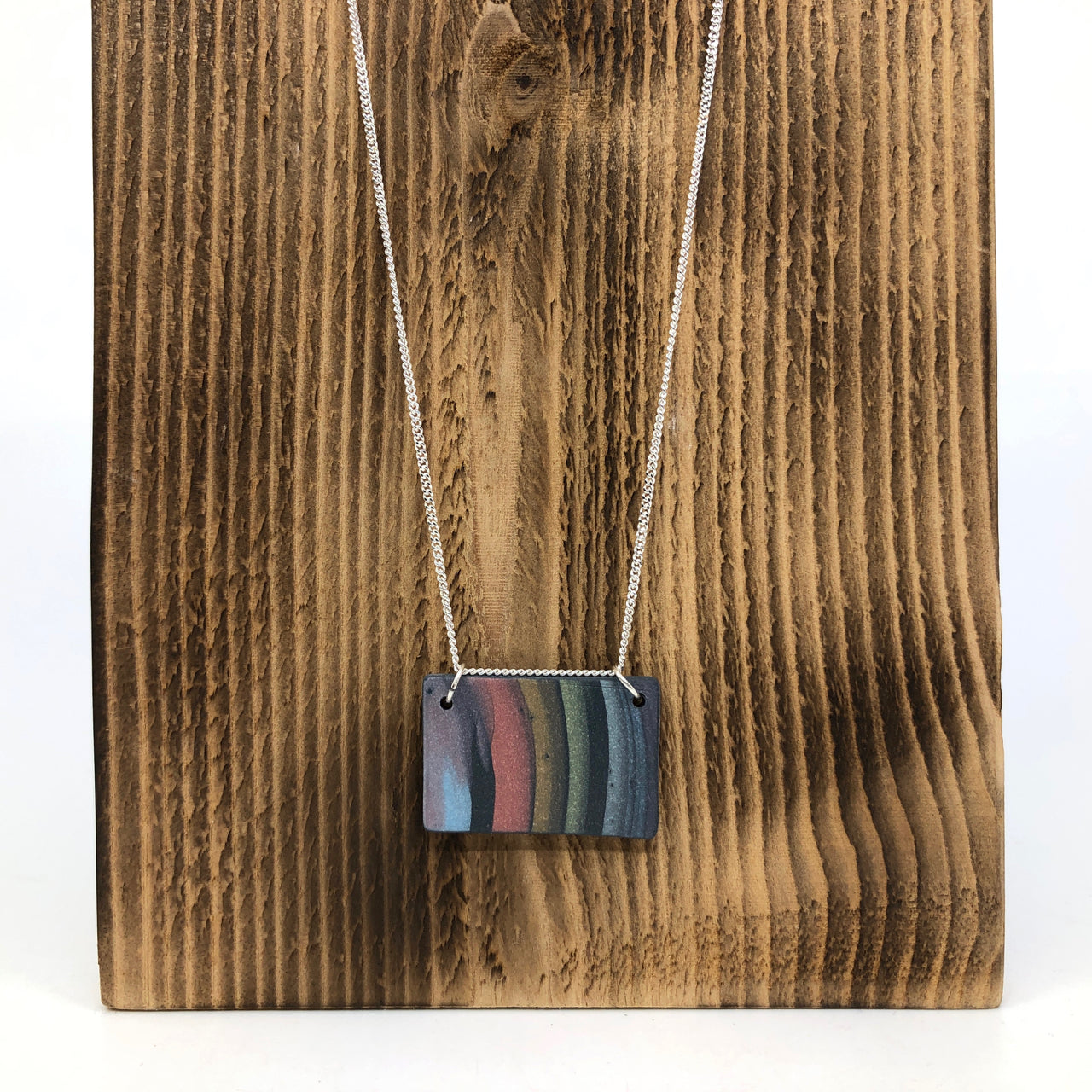 Dark Rainbow Strata Wide Rectangle Necklace #2