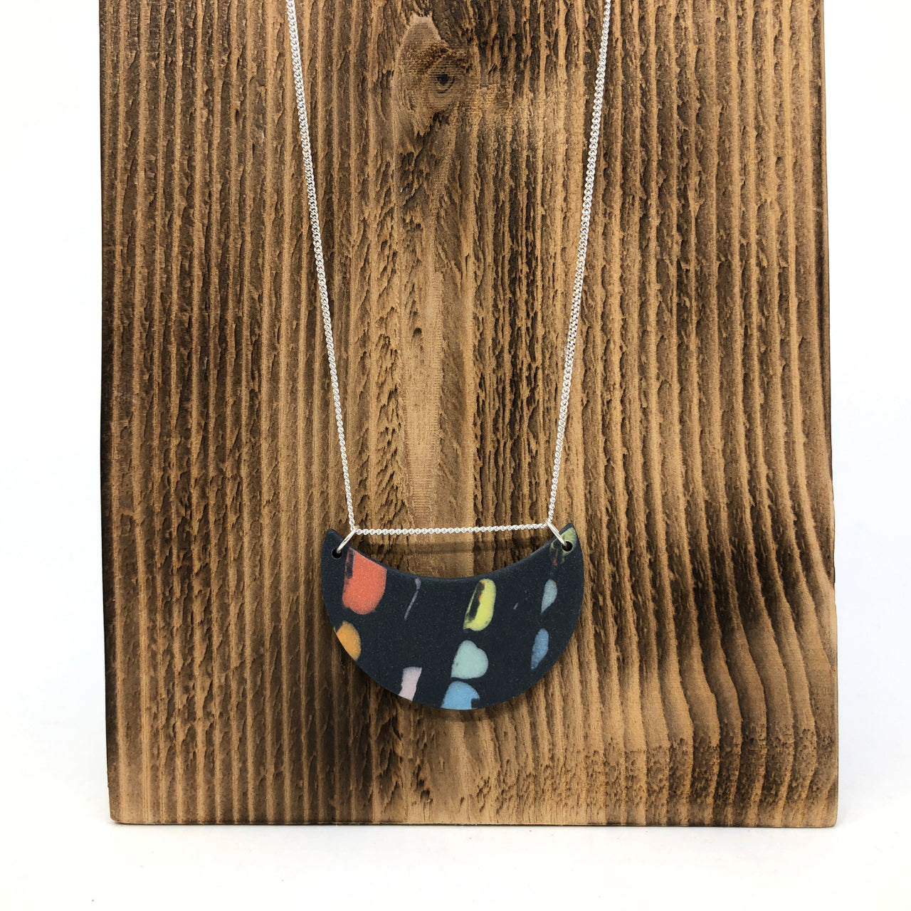 Black Rainbow Dot 2-Link Moon Necklace