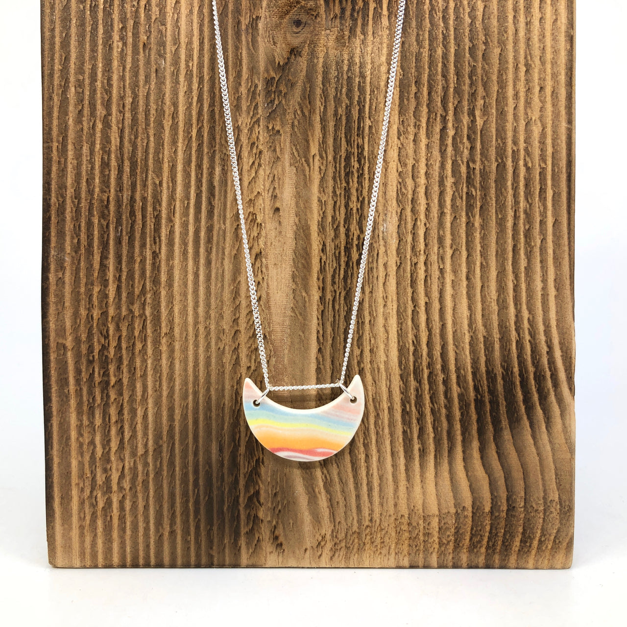 Rainbow Strata Tiny Moon Necklace