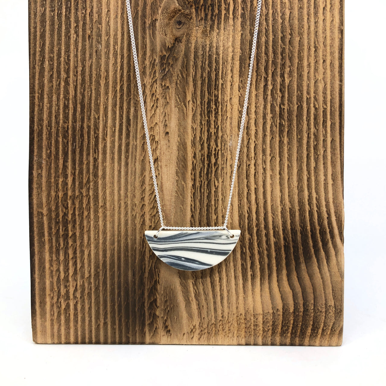 Storm Strata Tiny Half Circle Necklace