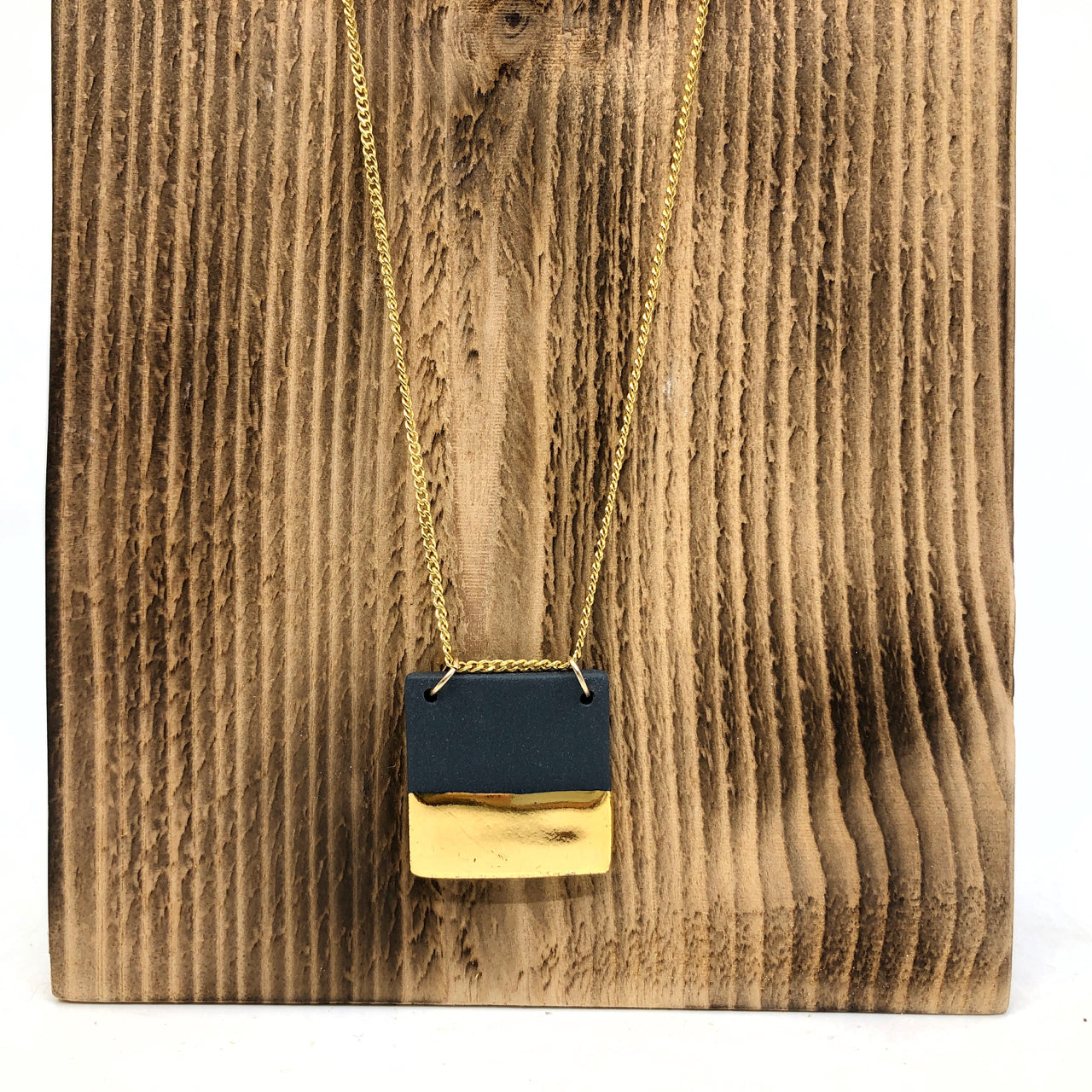 Black & Gold Half-Luster Square Necklace