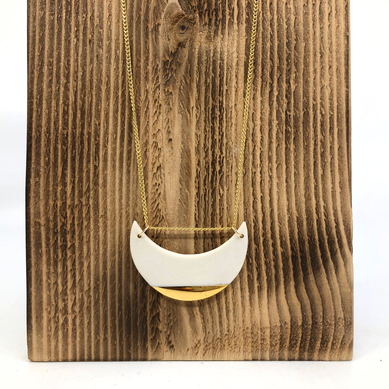 White & Gold Luster 2-Link Moon Necklace