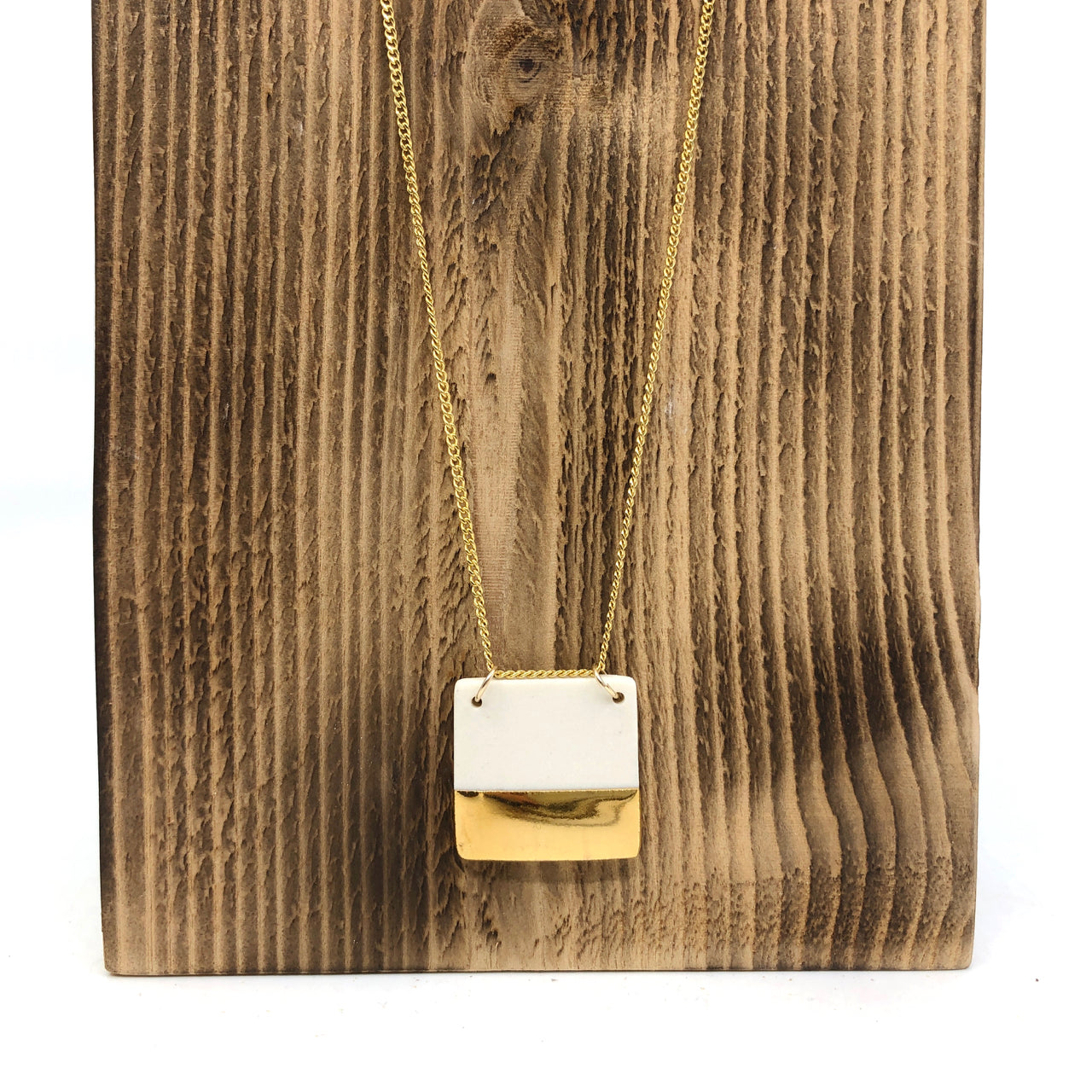 White & Gold Half-Luster Square Necklace