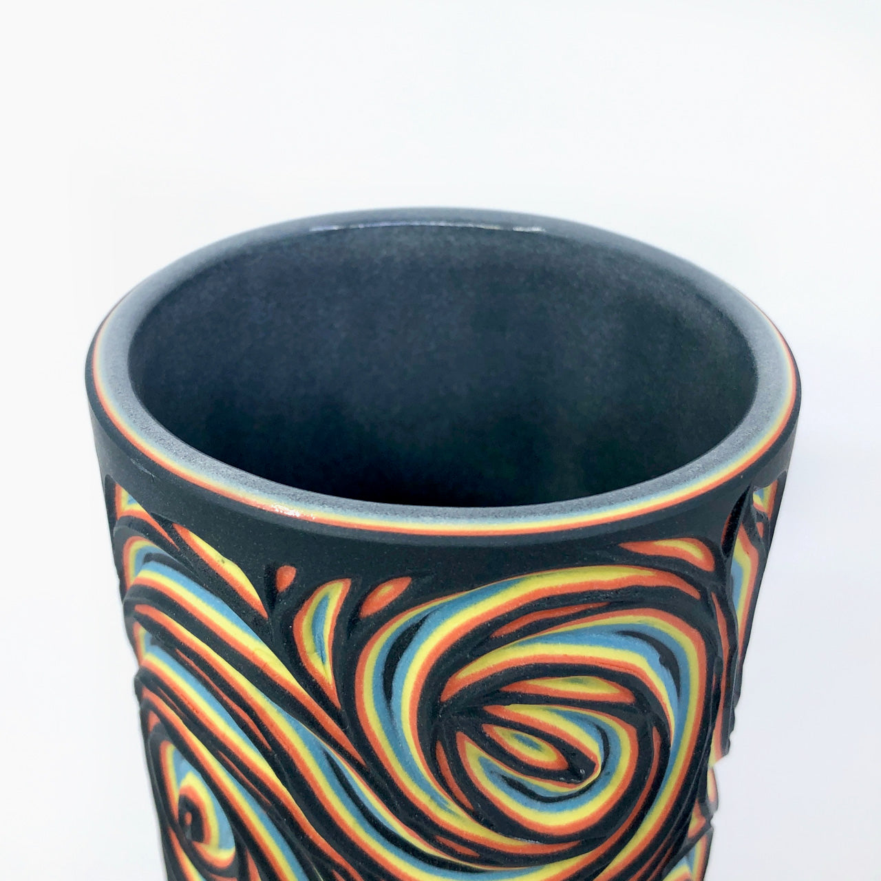 Black Neon Swirls 5-Layer Medium Column Vase