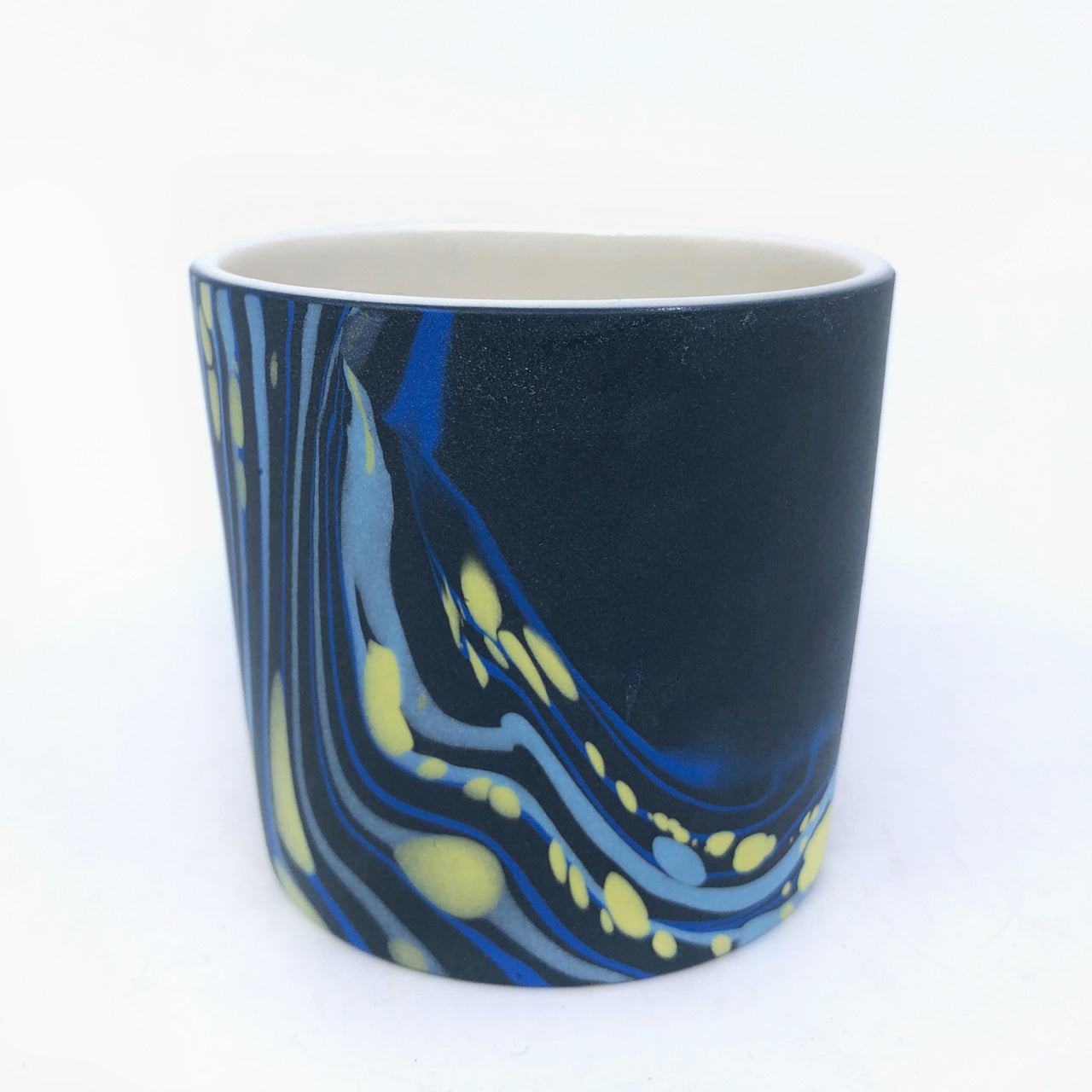 Black & Royal Dappled Tumbler - White Interior