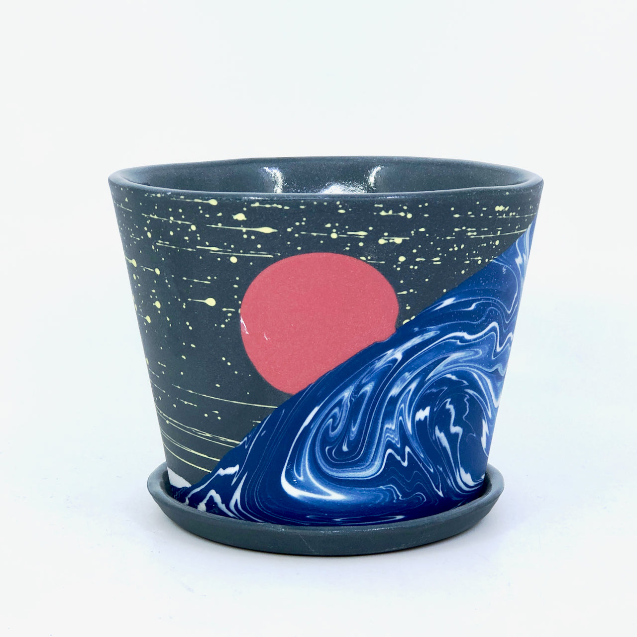 Small Night Wave Planter With Dish