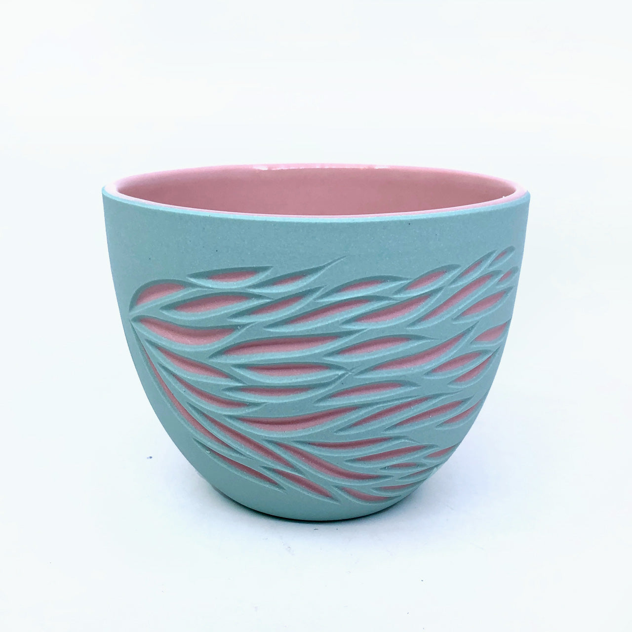 Bermuda & Pink 2-Layer Carved Teacup