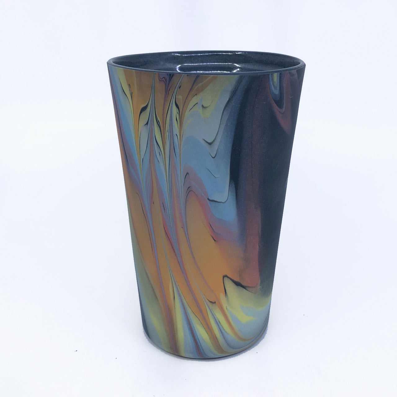 Black Rainbow Feathered Insulated Mug