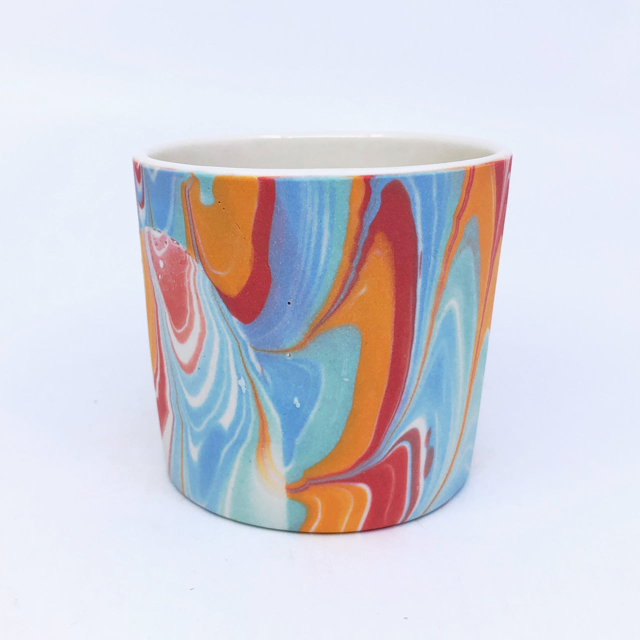 White & Rainbow Feathered Tumbler #2