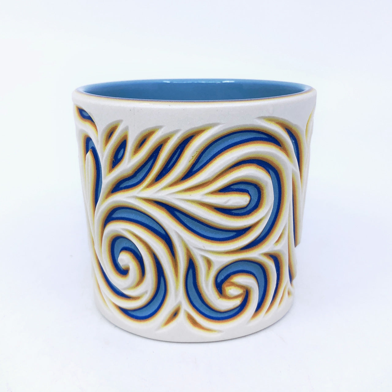 White to Light Blue Swirls Tumbler