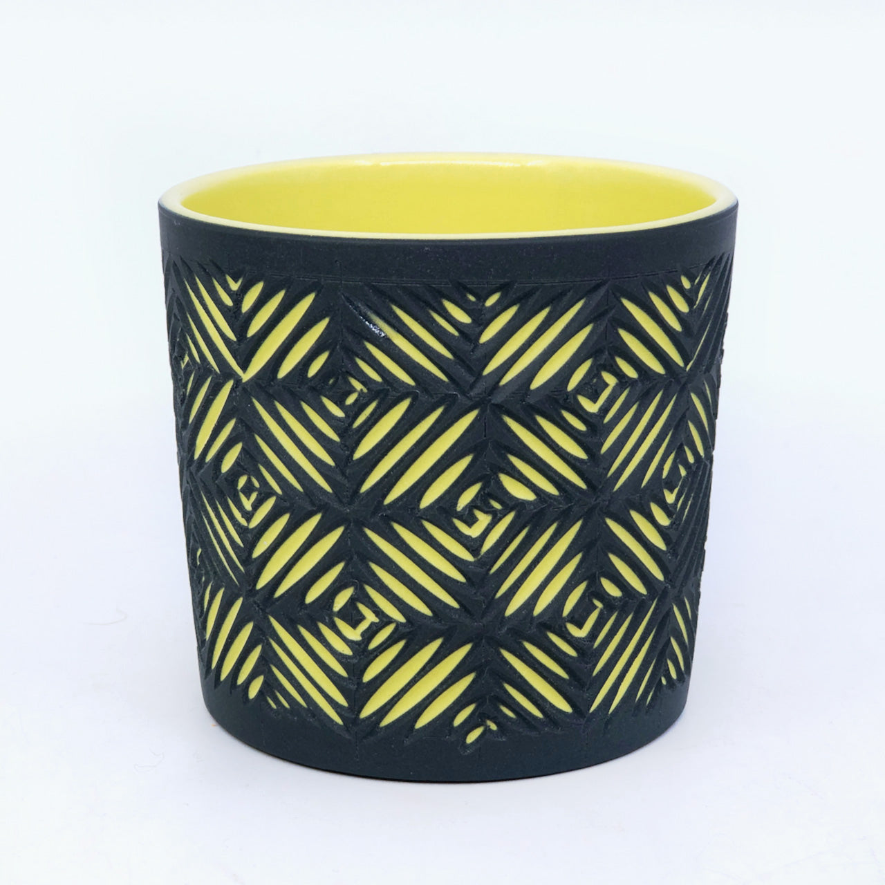 Black & Yellow Crosshatch 2-Layer Carved Tumbler