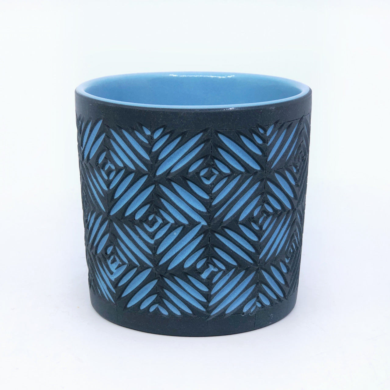 *Slightly Warped* Black & Light Blue Crosshatch 2-Layer Carved Tumbler