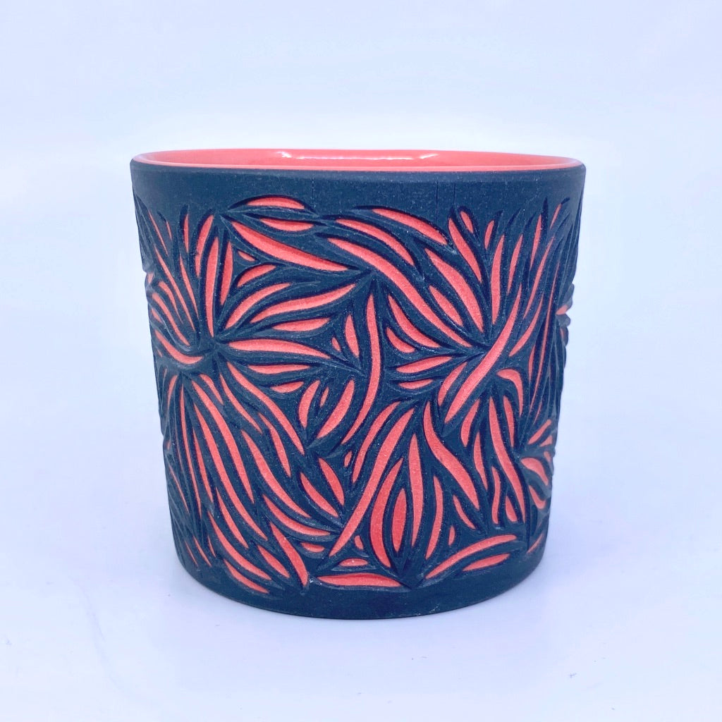 Intricate Black and Red 2 Layer Tumbler