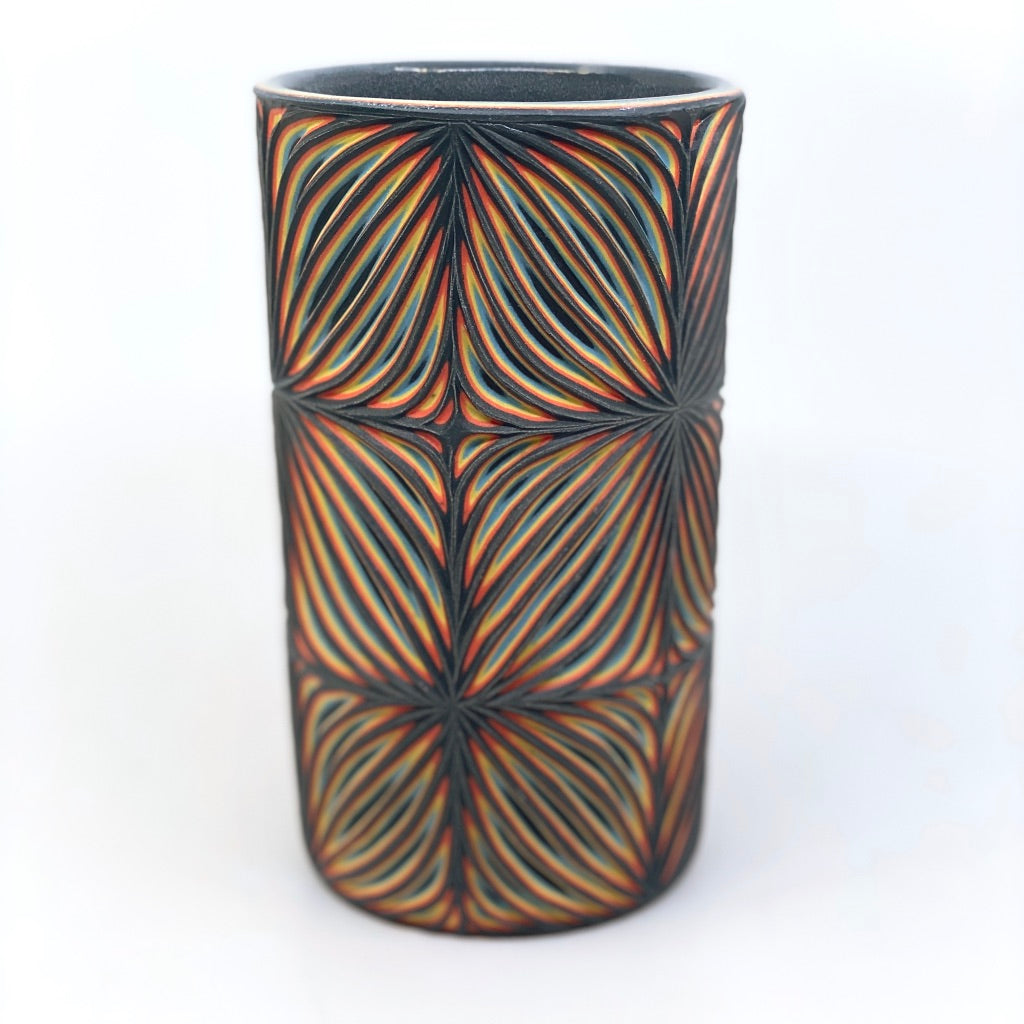 Black Neon Pattern Carved Small Column Vase