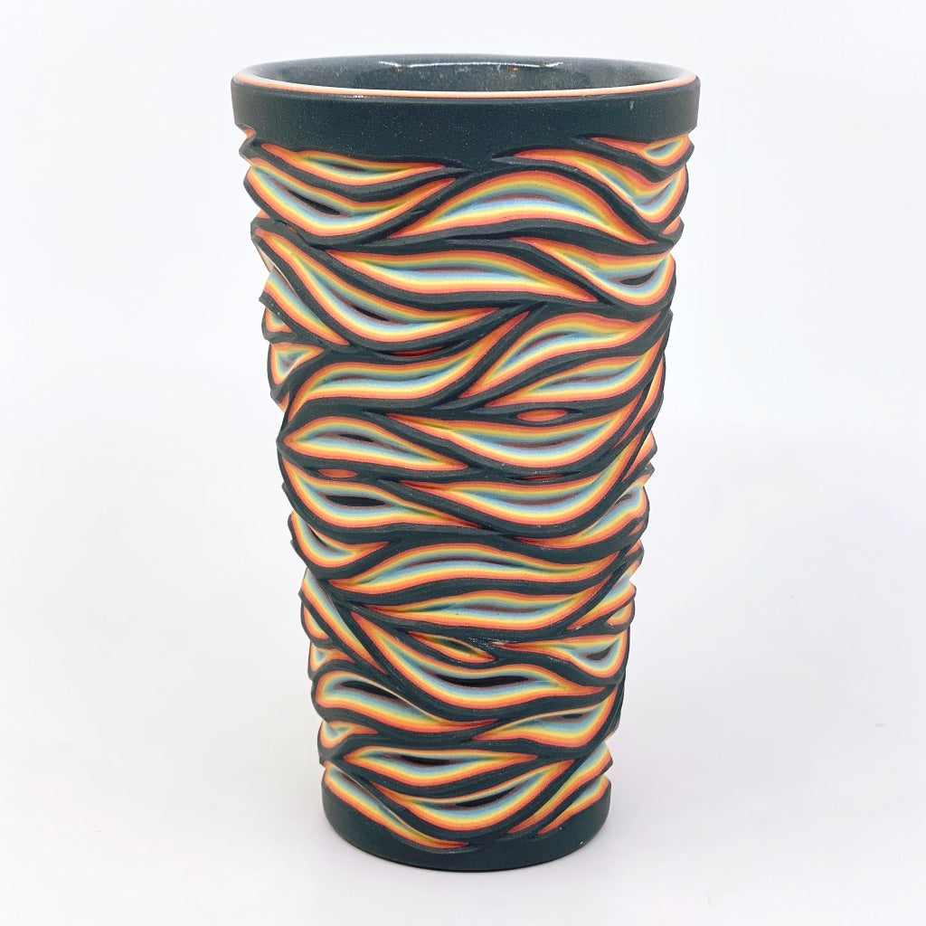 Black Rainbow Flow Pint- 7 Layer Carved