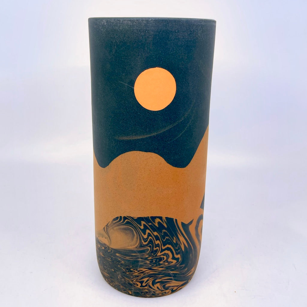 Large Night Dunes Column Vase, Orange Moon