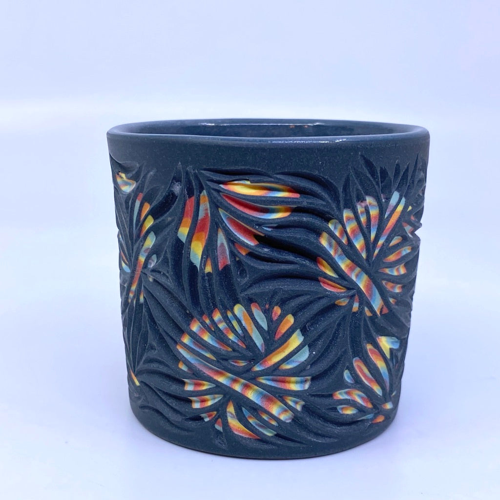 Hidden Rainbow Circles Carved Black Tumbler