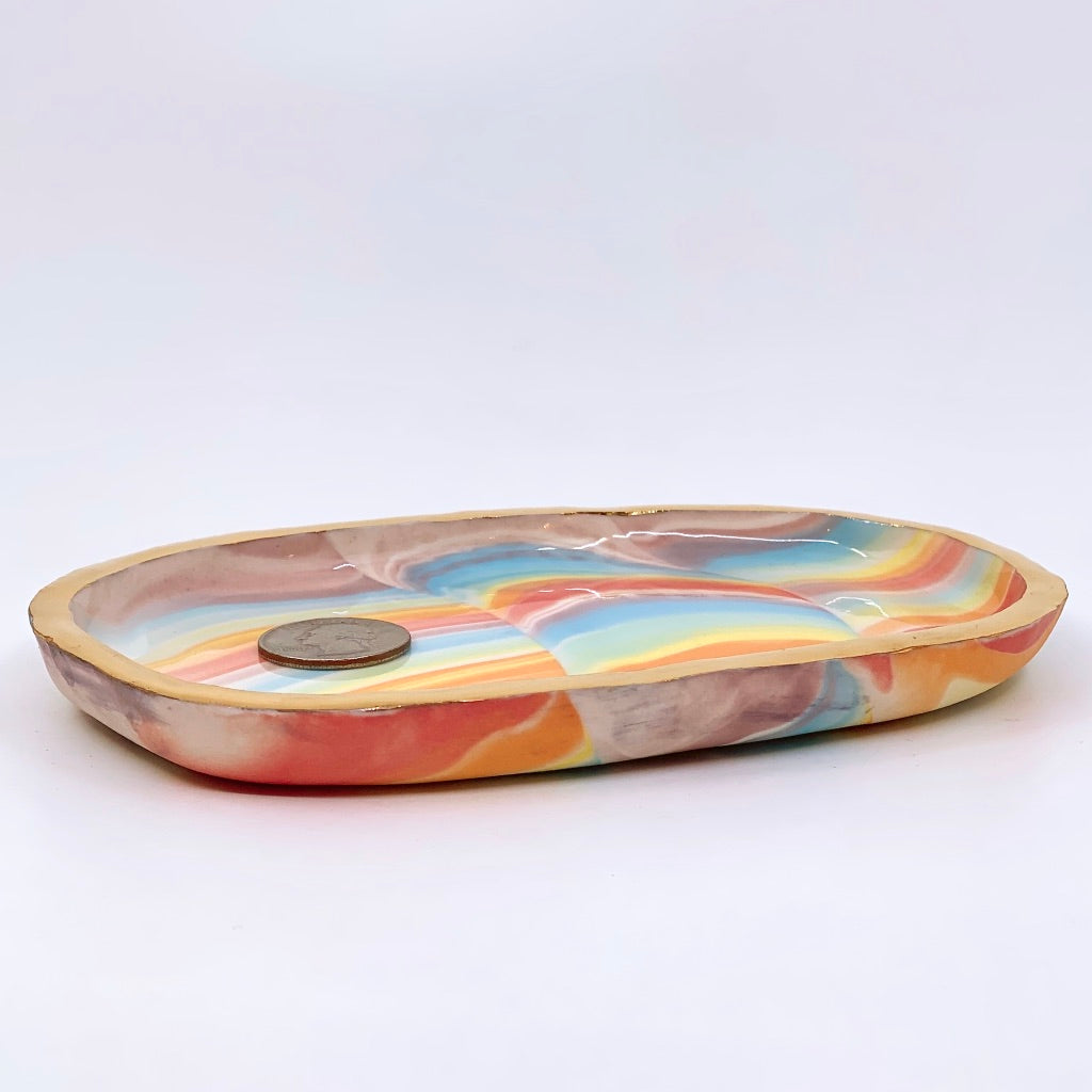 Rainbow Large Catch-All Dish with Gold Rim
