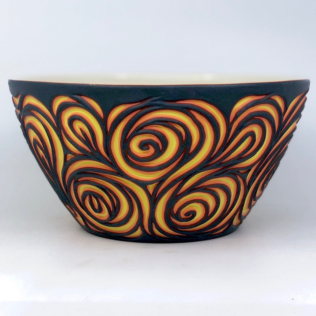 Lava Swirl 7-Layer Carved Serving Bowl