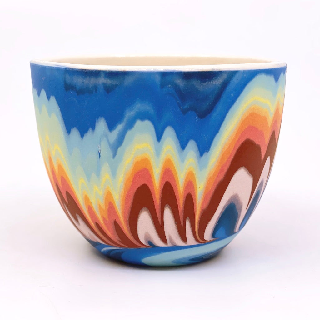Teacup #6 Rainbow Marbled One-Off - White interior