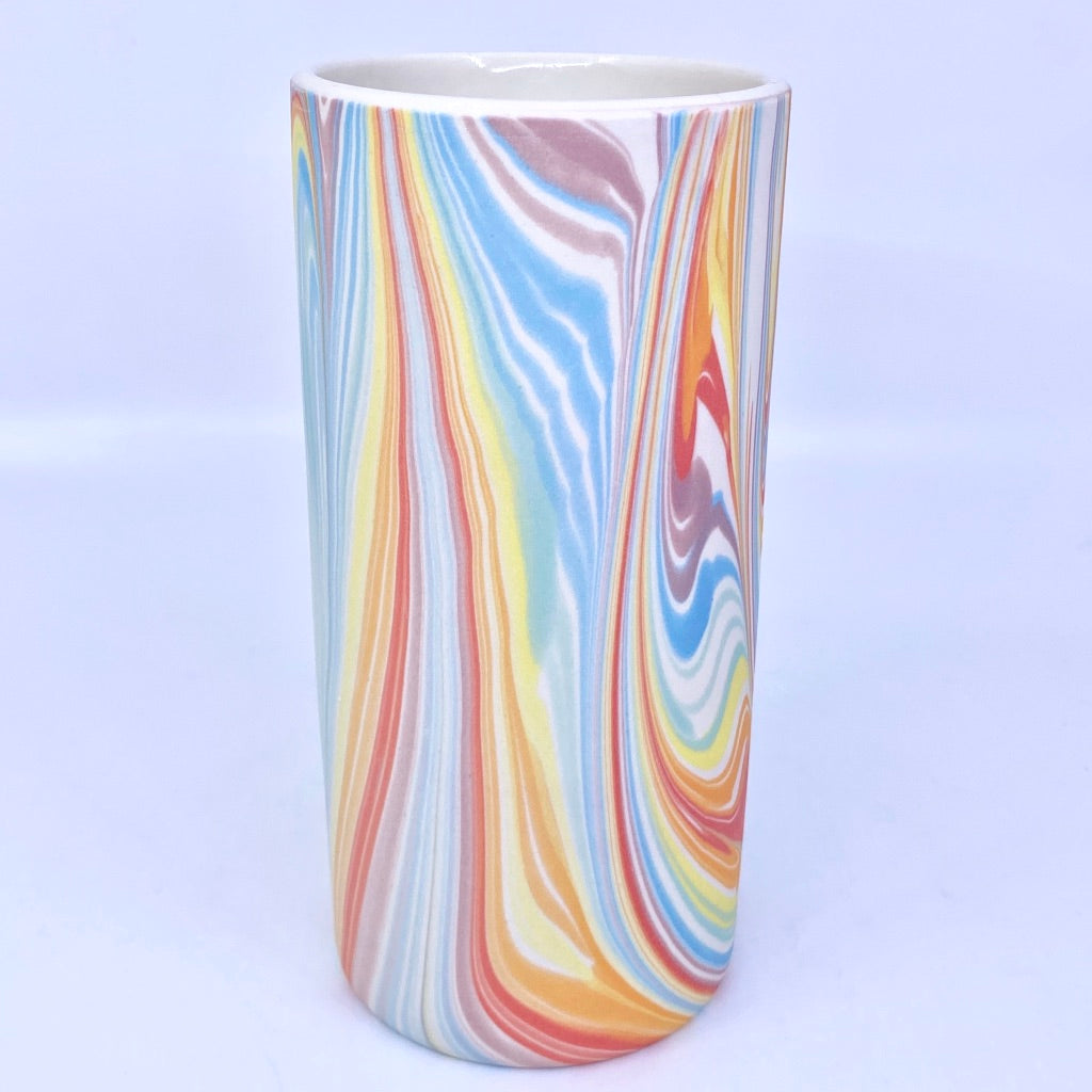 "7.5"" Medium Column Vase- Rainbow Feathered"