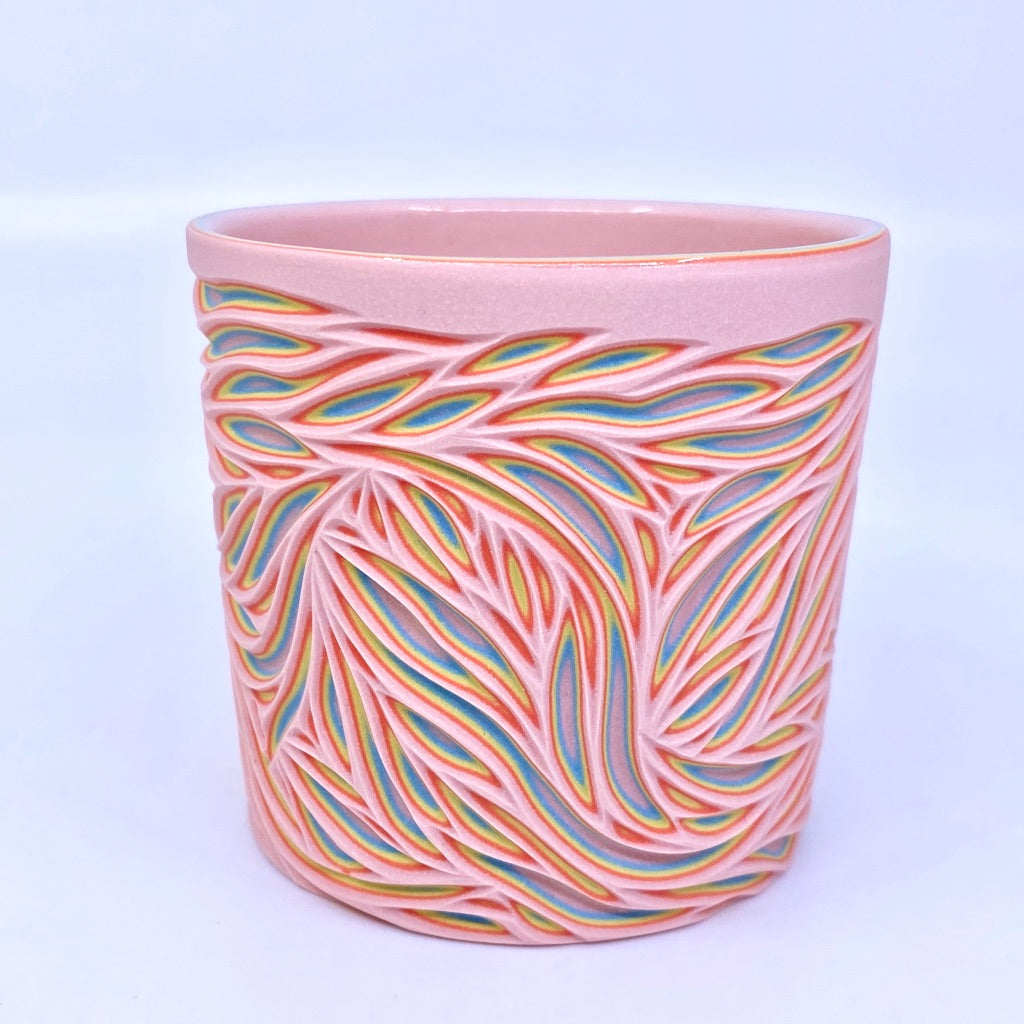 Cotton Candy 5-Layer Intricate Carved Tumbler (pink interior)