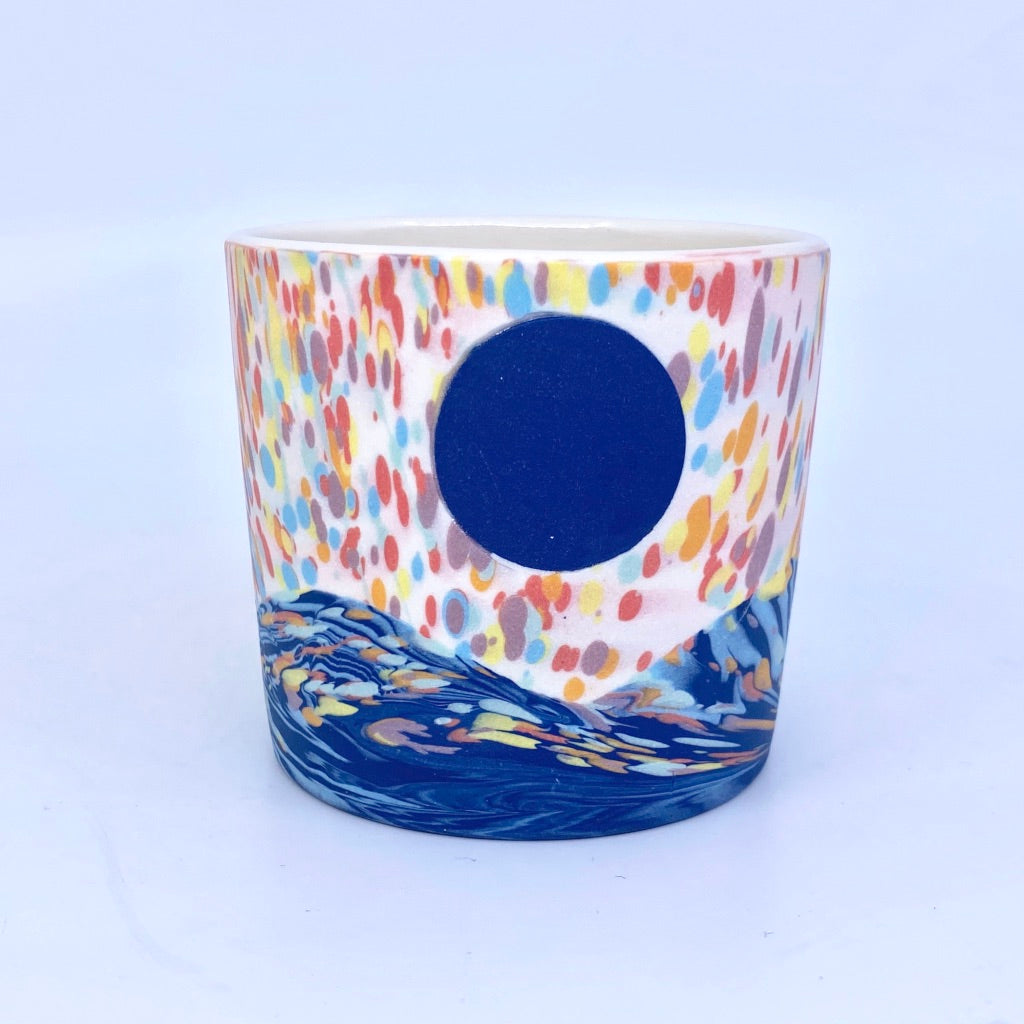White and Rainbow Dappled Tumbler With Moon And Wave