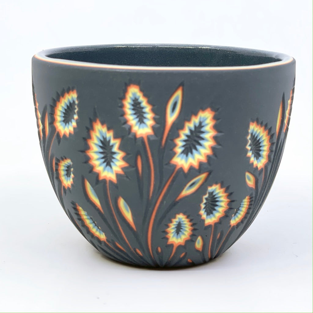 *Preorder* Black & Neon Botanical Carved Teacup (ship by end of march)