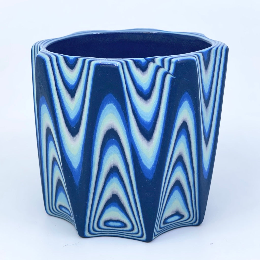 Glacier 26-Layer Zig Faceted Tumbler Dark Blue interior and exterior (8-Sides) **reduced price for line in design, note in front picture**