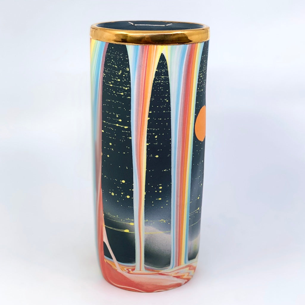 Rainbow Falls Large Column Vase- WITH FAT Luster Rim, and slight lean