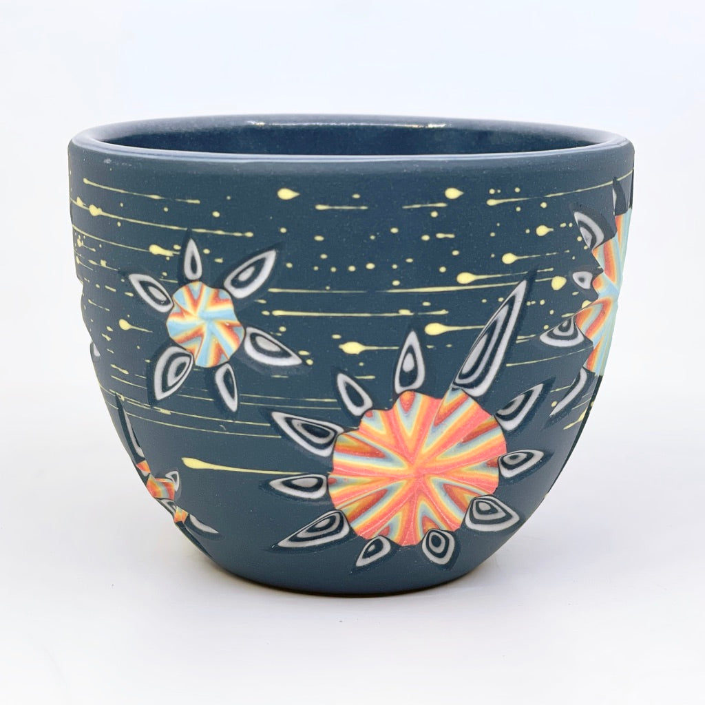 "Supernova Carved ""Hybrid"" Teacup w/ stars -- Midnight Blue/Black"