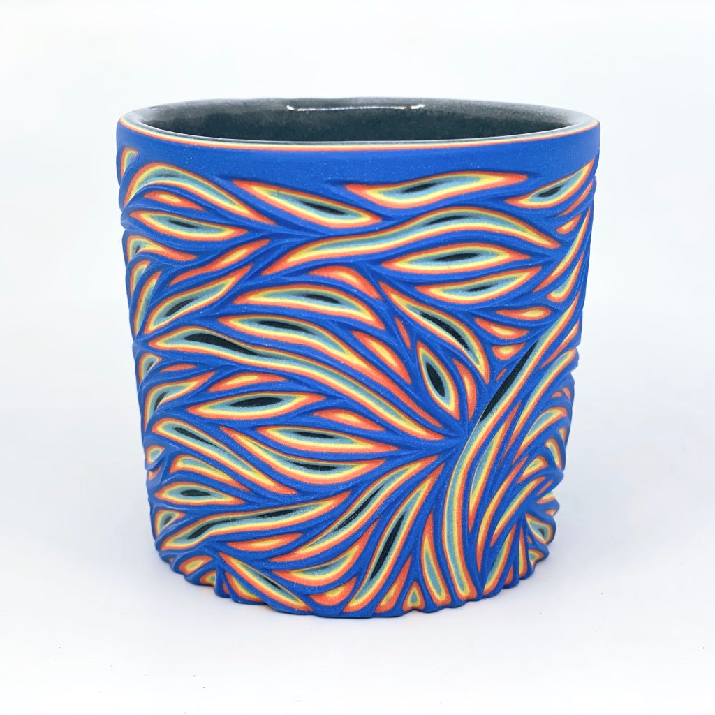 Royal to Black Intricate Carved Tumbler