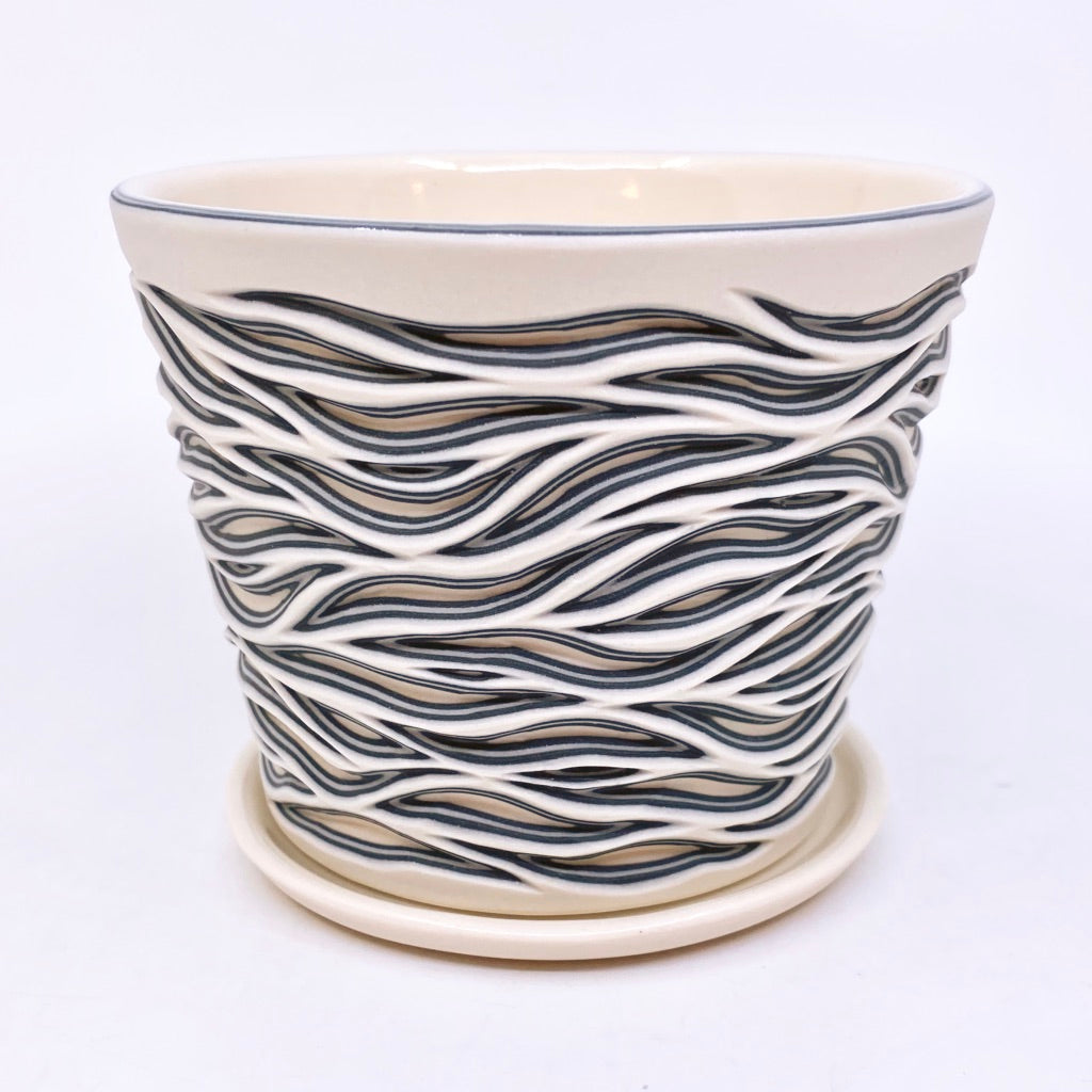 Flow Carved Planter - Black and White Small