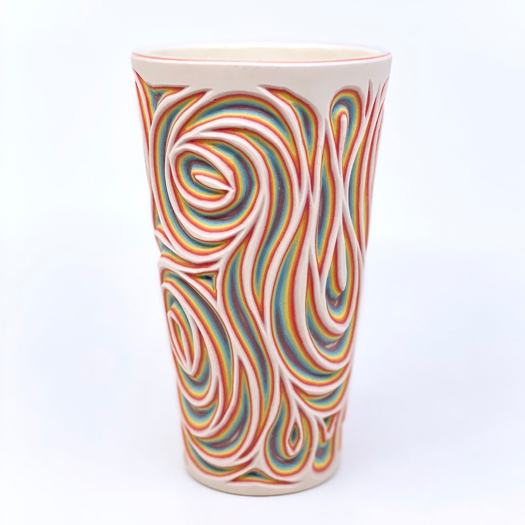 Rainbow Swirl Pint- White Exterior 7 Layer Carved