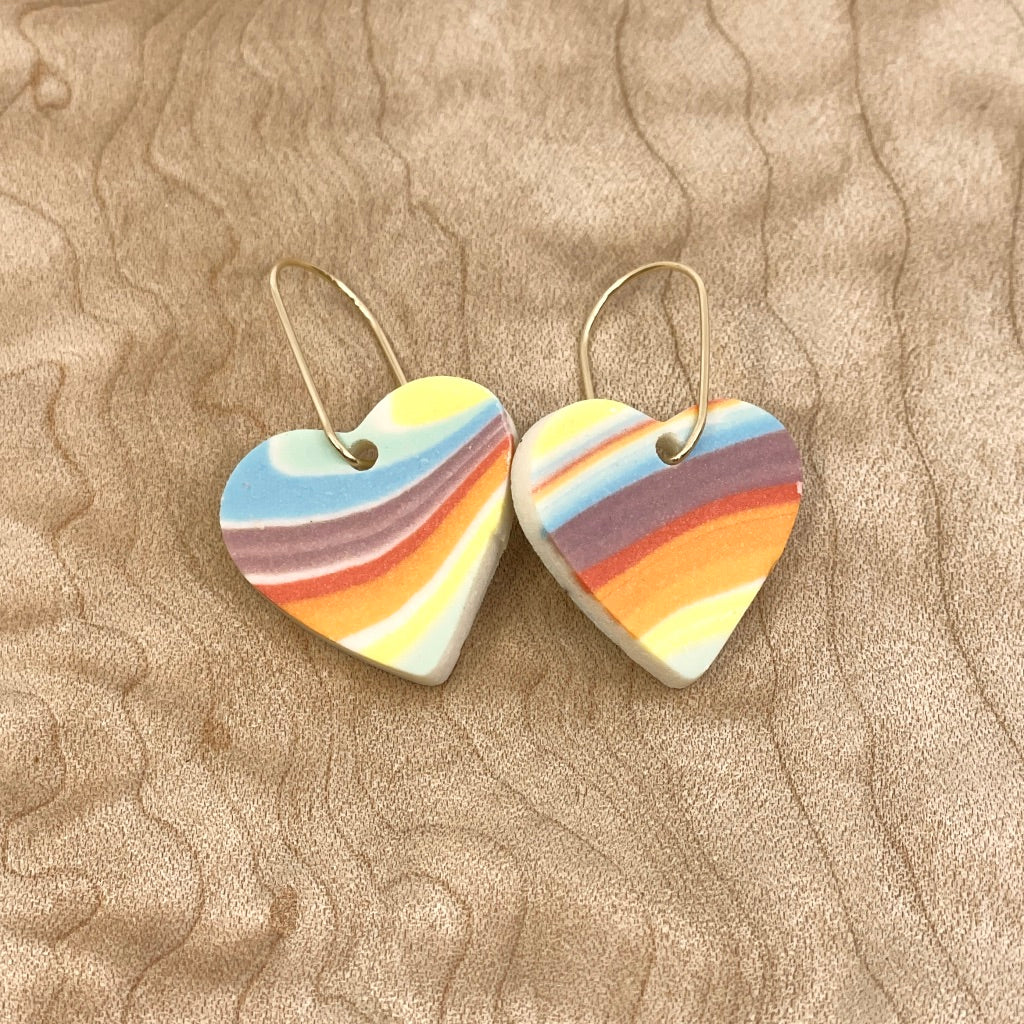 Rainbow Strata Heart Drop Earrings