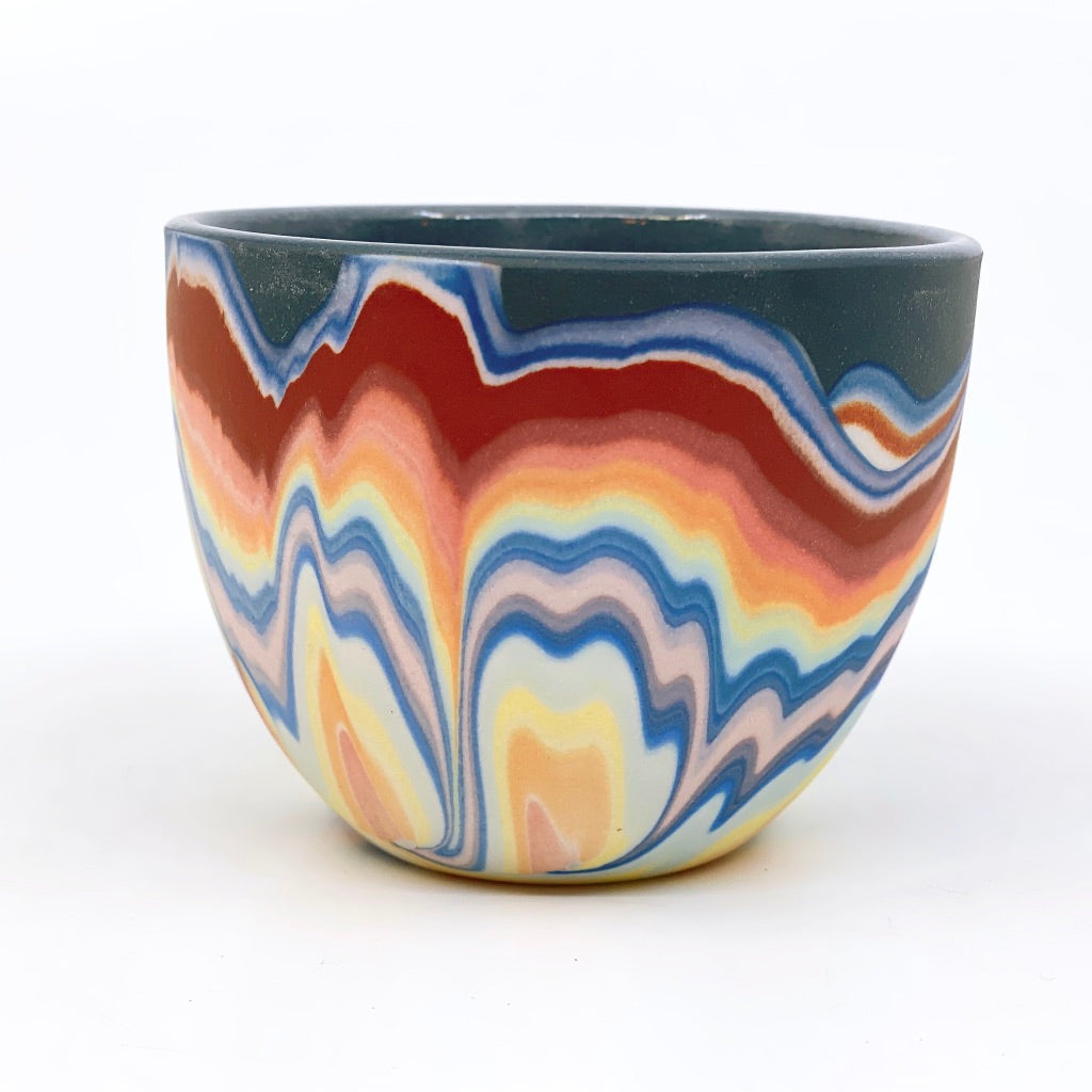 Teacup #1 Rainbow Marbled One-Off - Black interior