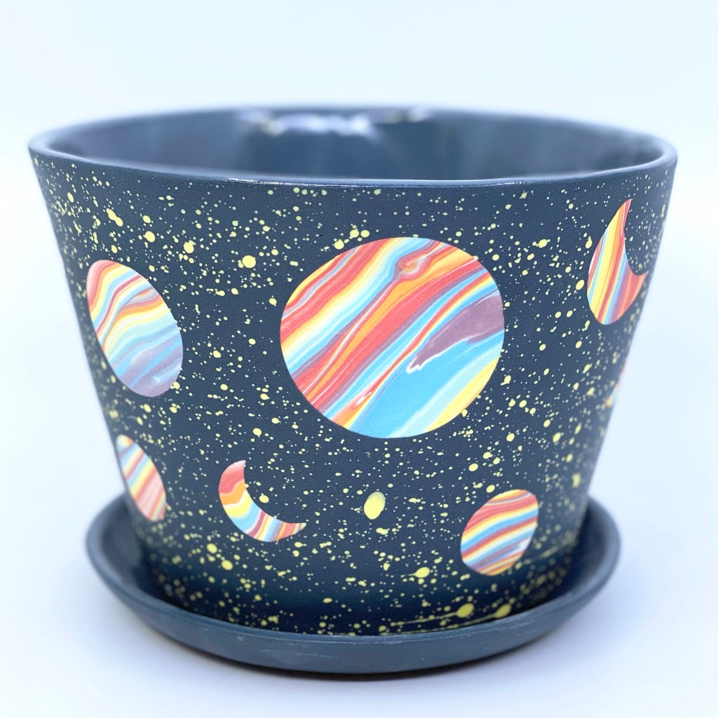 Galaxy Large Planter With small rainbow hearts added