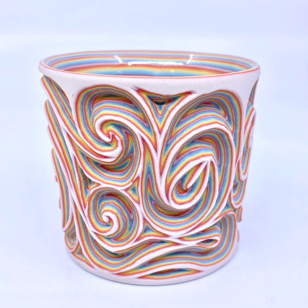 White Rainbow 29 Layer Swirl Intricate Carved Tumbler