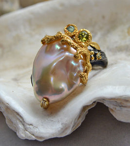 Baroque Pearl with Peridot