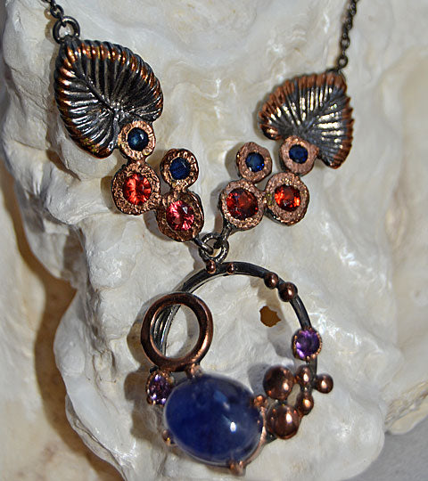 Blue Sapphire and Garnets