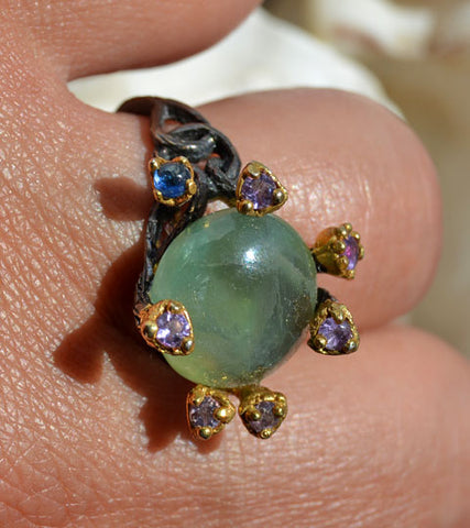 Prehnite Amethyst and Blue Sapphire