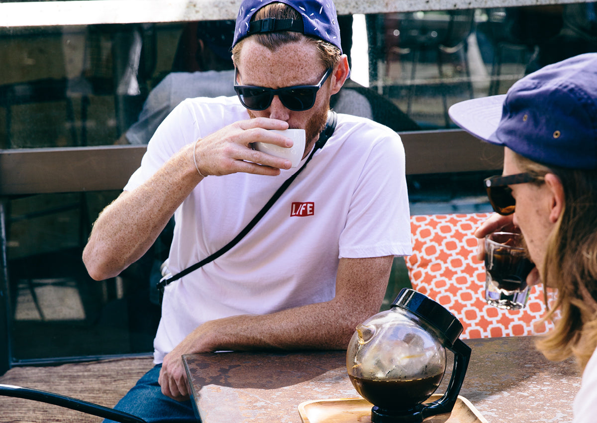 Altru Apparel Lookbook LIFE T-shirt and drinking coffee