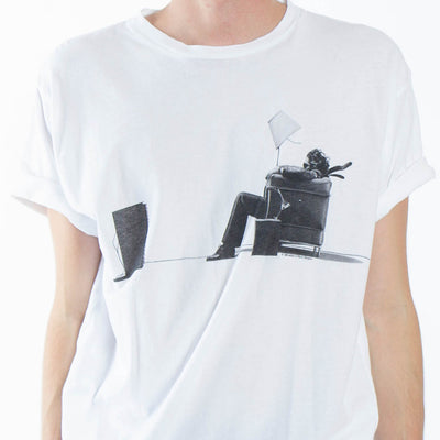 Maxell Blown Away Guy graphic white t-shirt by Altru Apparel