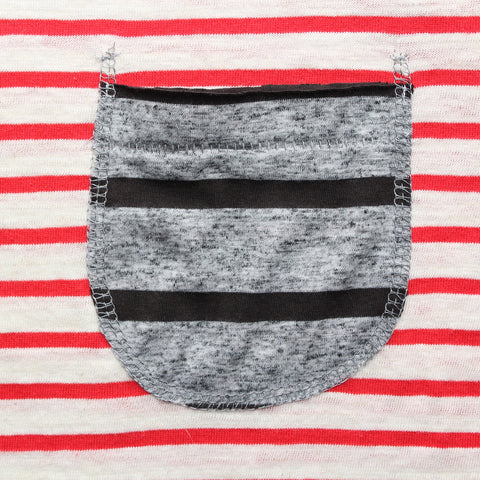 Altru Apparel Red Stripes with contrasting Pocket T-shirt detail